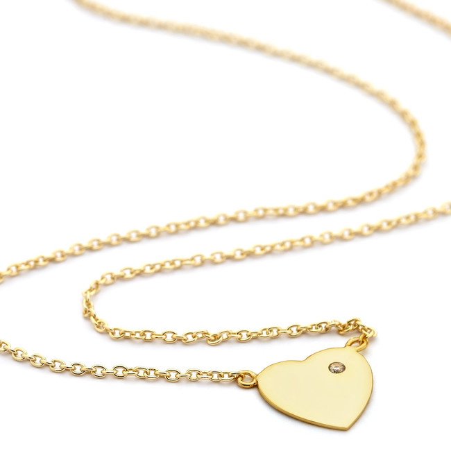 Gold heart necklace cz accent