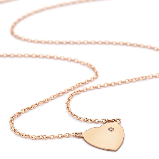 Rose gold heart necklace cz solitaire