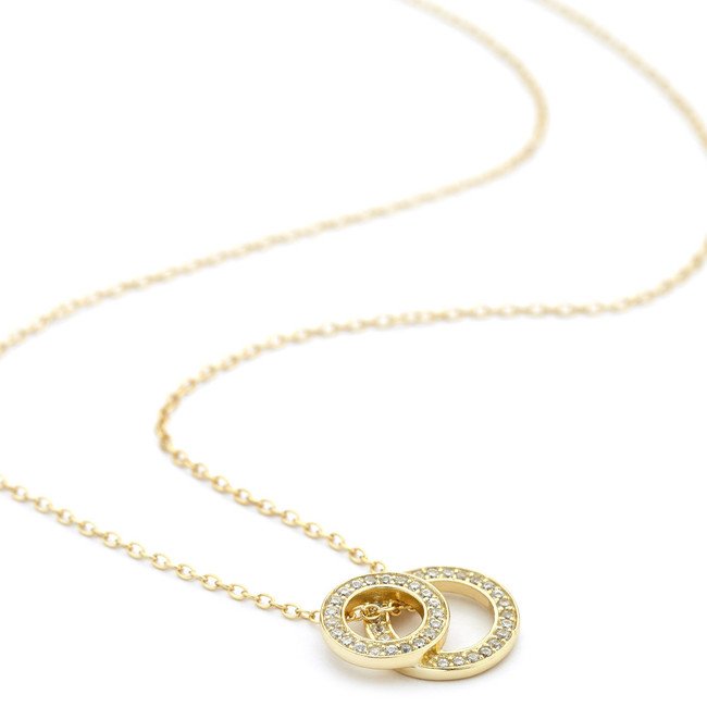 Stacked open circle pendant necklace gold
