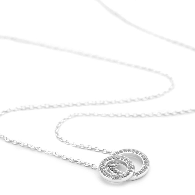 Silver stacked open circles necklace