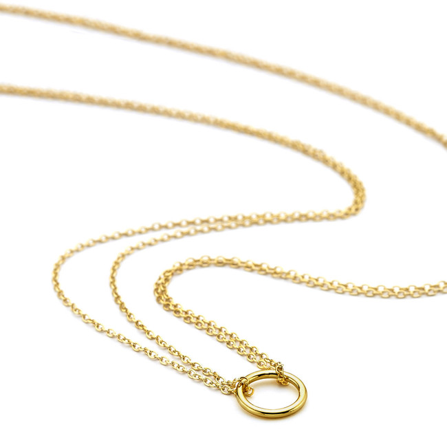 Double chain open circle necklace gold