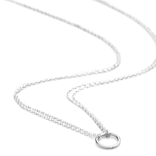 Silver double chain circle necklace