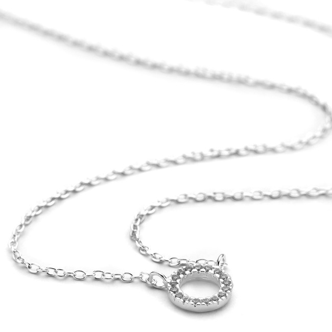 Silver cz channel open circle pendant necklace
