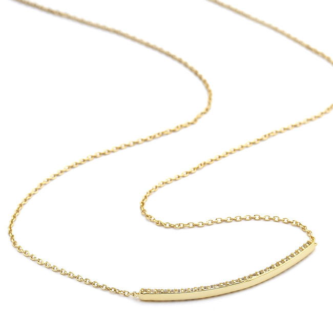 CZ pave curved bar necklace gold