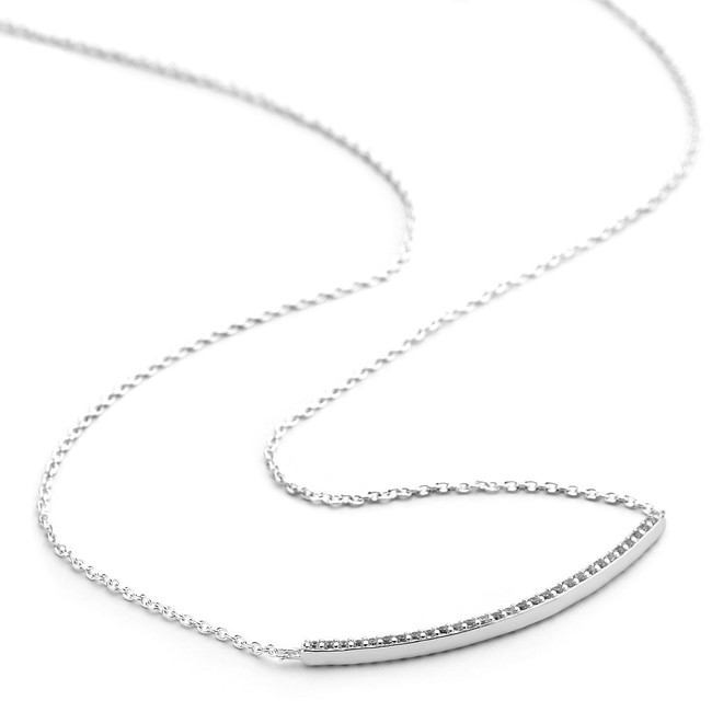 Silver cz pave curved bar necklace