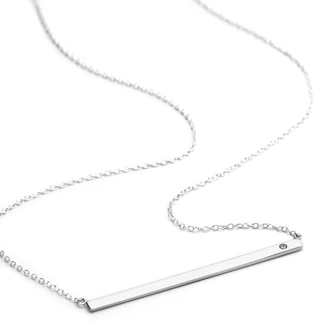 Sterling silver flat bar necklace cz accent