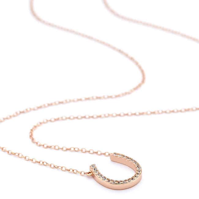 Rose gold horseshoe necklace channel czs