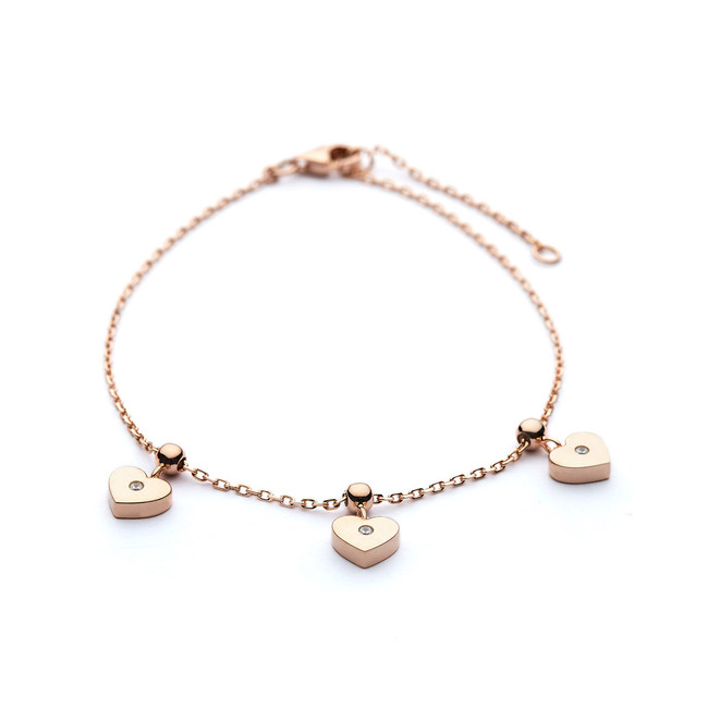 Three hearts rose gold charm bracelet czs