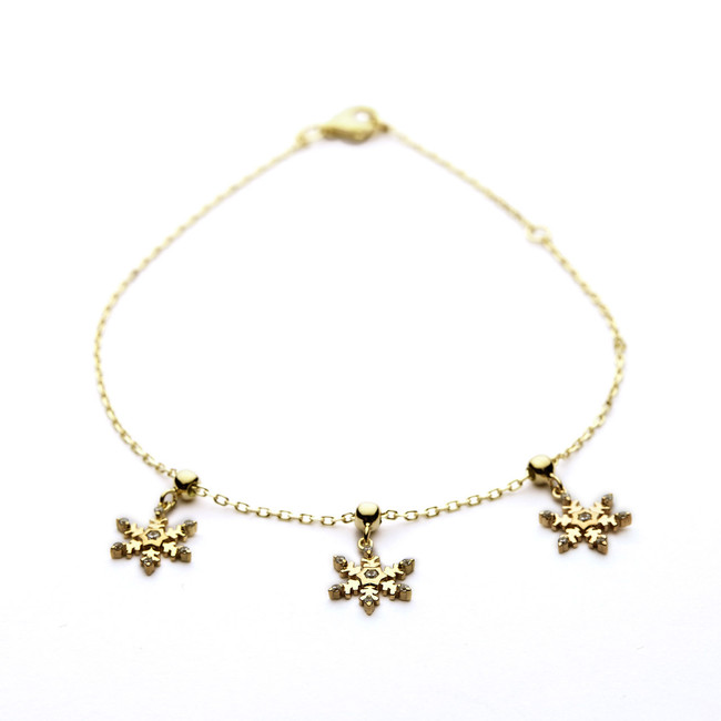 Snowflakes bracelet in yellow gold vermeil