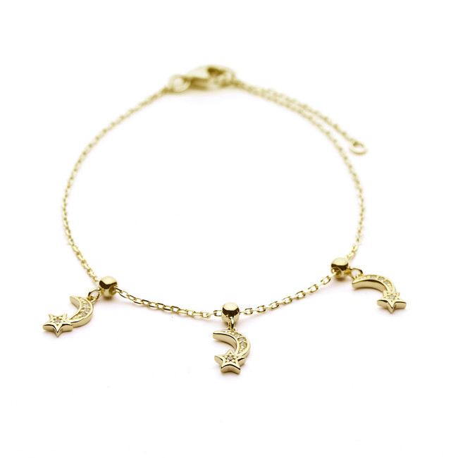 Moon and star charm bracelet gold vermeil