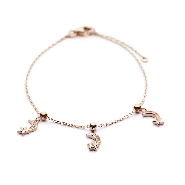 Charm bracelet moon and star design rose gold vermeil