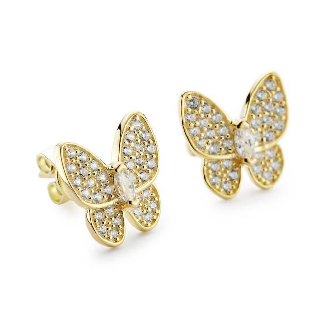 Butterfly pierced earrings with cz stones gold vermeil