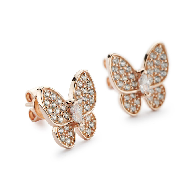 Butterfly stud earrings rose gold vermeil