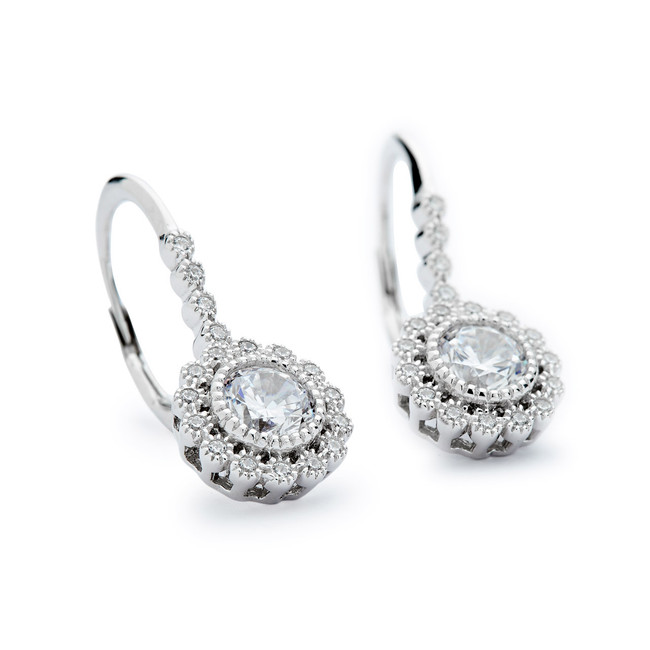 Vintage look leverback earrings w cz sterling silver