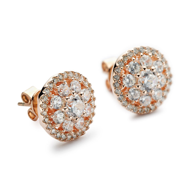 Round cluster halo cz stud earrings   rose gold