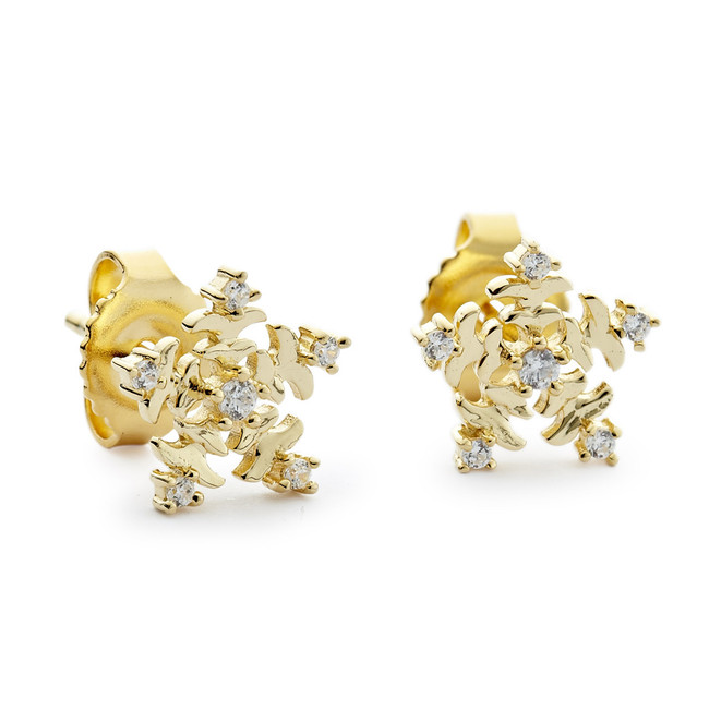 Snowflake stud earrings petite yellow gold vermeil