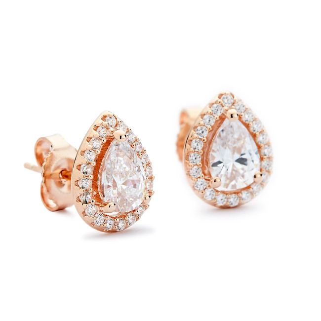CZ teardrop halo stud earrings rose gold
