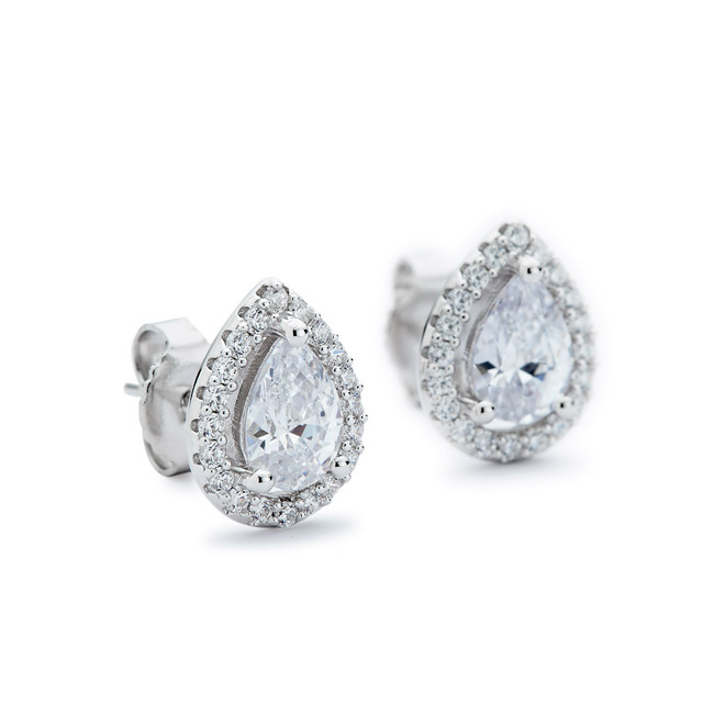 Teardrop stud earrings w cz halo sterling silver