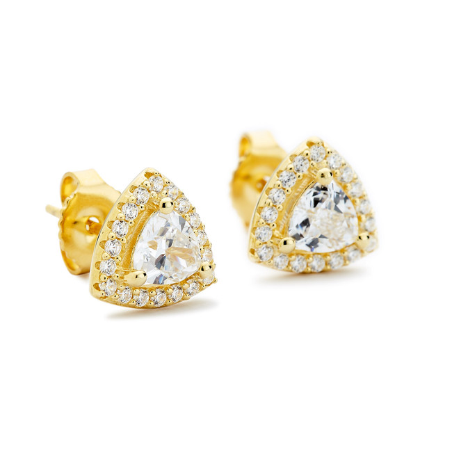 Rouleaux triangle halo stud earrings yellow gold