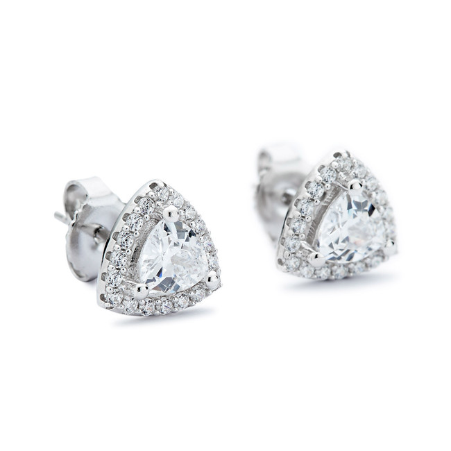 Silver rounded triangle cz stud earrings