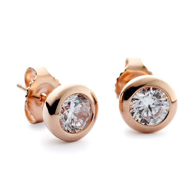 Round stone simple cz studs earrings   rose gold