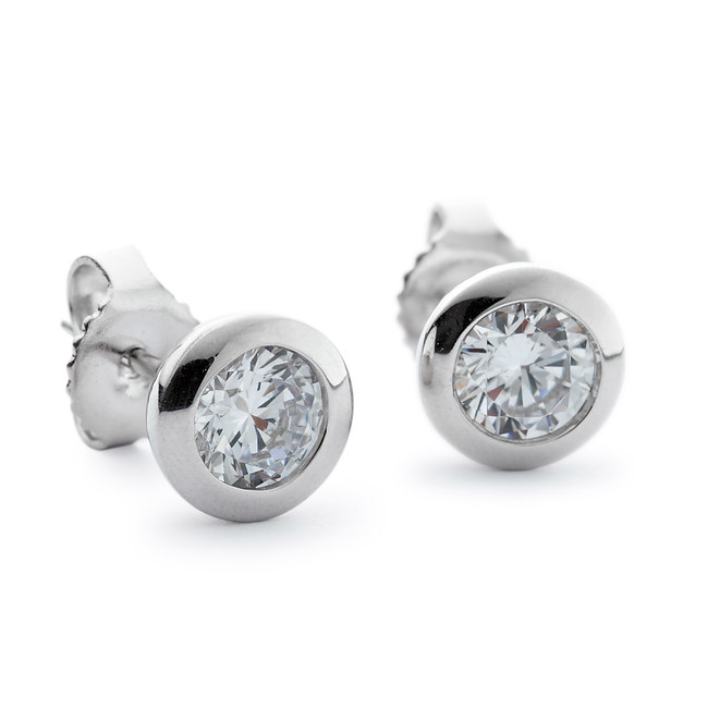 Plain bezel round cz stud earrings silver
