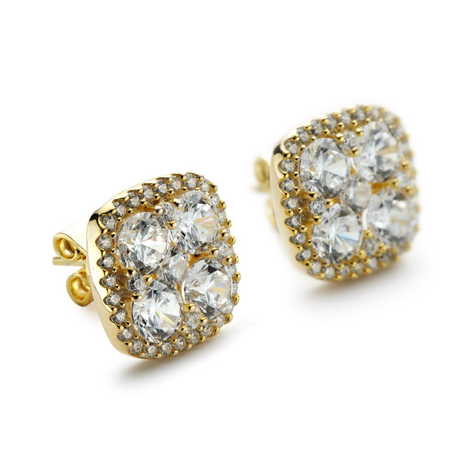 Square cluster cz studs with halo yellow gold vermeil