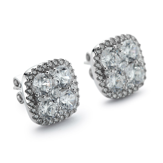 Sterling silver cz cluster stones and halo