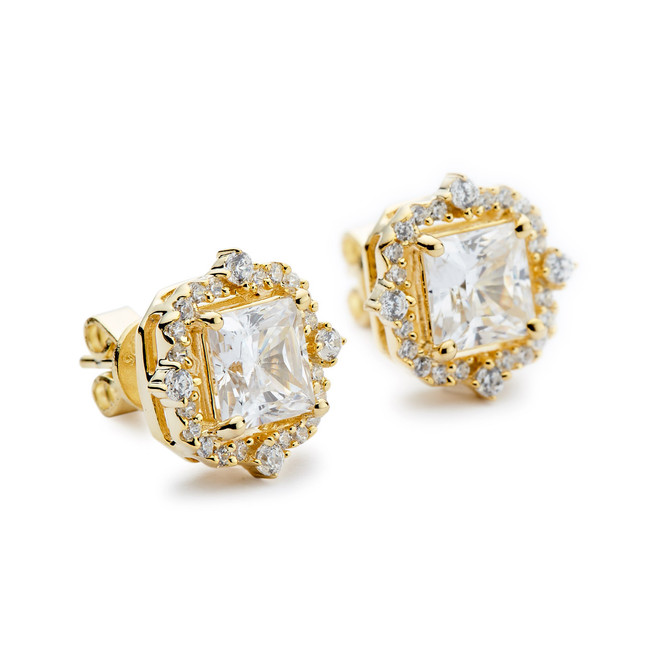 Vintage halo square cz stud earrings yellow gold