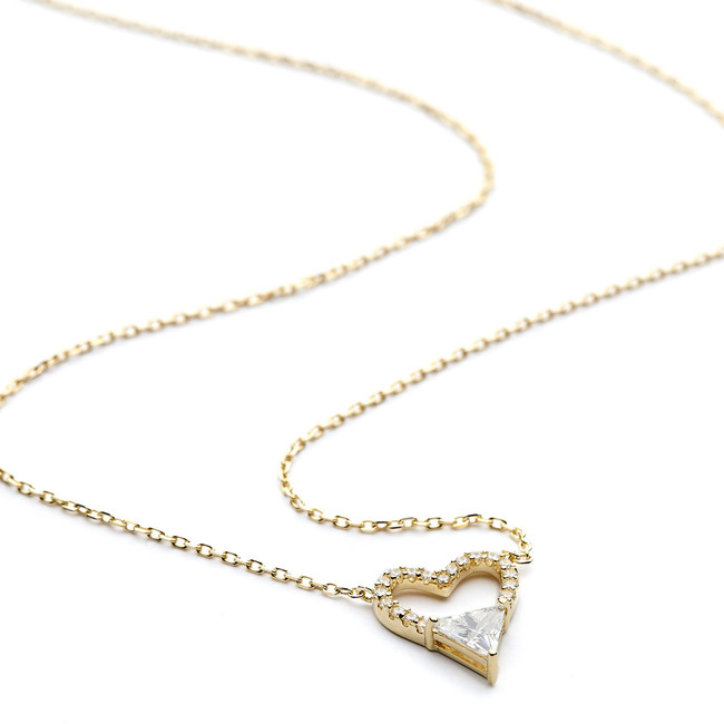 Open heart cz necklace with heart shaped cz yellow gold