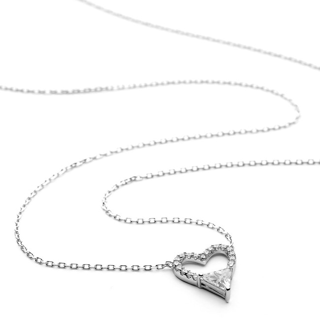 Silver pave heart cz necklace
