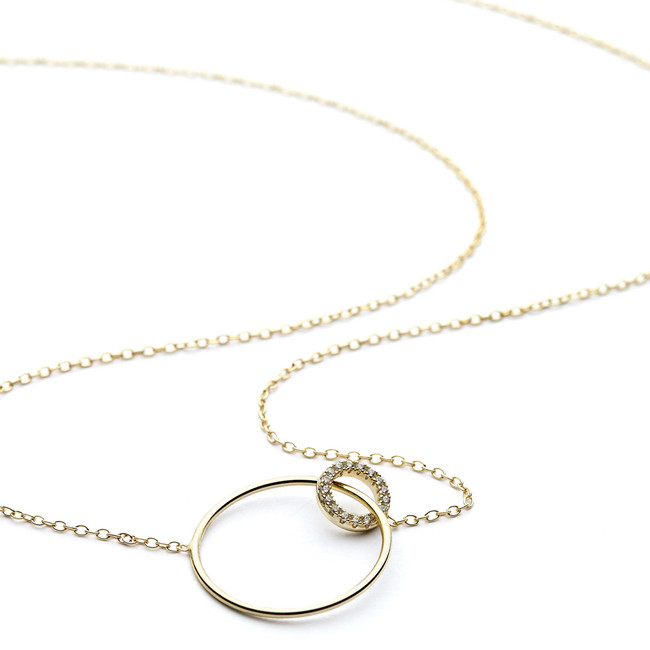 Crystal double ring necklace yellow gold vermeil