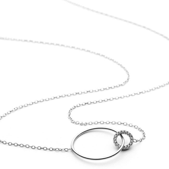 Double ring cz crystal necklace in silver