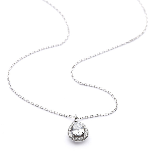 Silver teardrop halo cz necklace