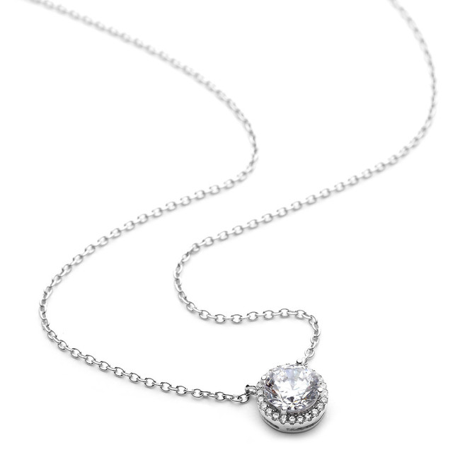 Sterling silver round cz halo necklace