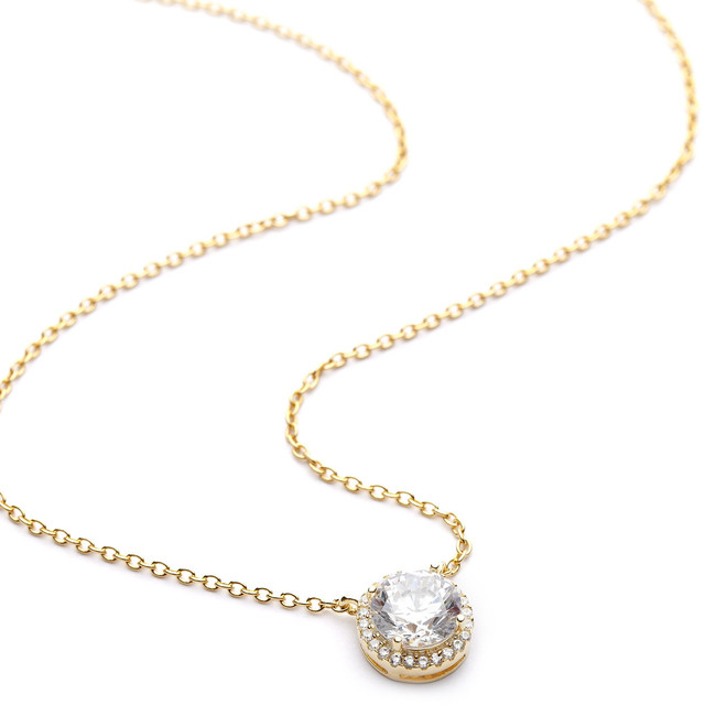 Round crystal cz pave halo necklace yellow gold vermeil