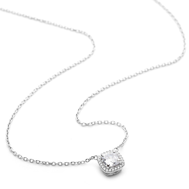 Sterling silver cz square pendant necklace with halo