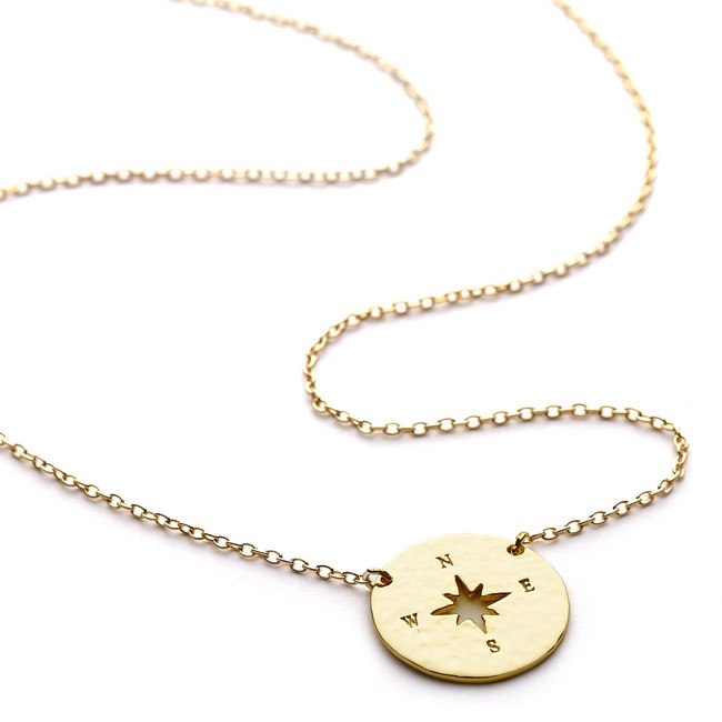 Compass necklace gold vermeil