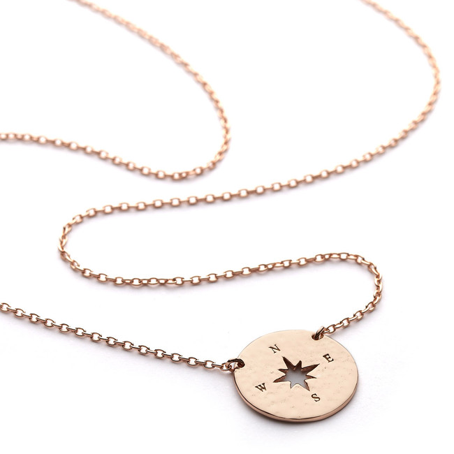 Rose gold compass round necklace