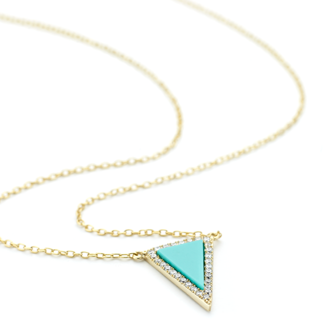 Turquoise stone prism triangular pendant with crystals in yellow gold over sterling silver 40 cm necklace