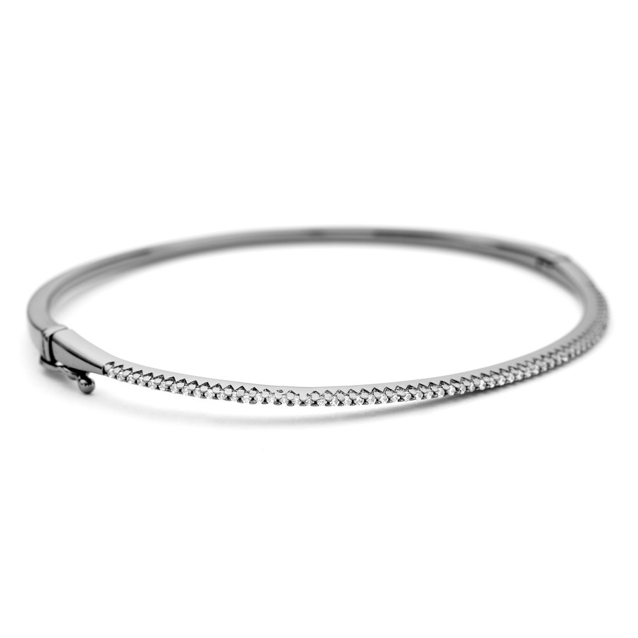Allobar oval shaped CZ crystal cuff bangle in black rhodium finish over sterling silver