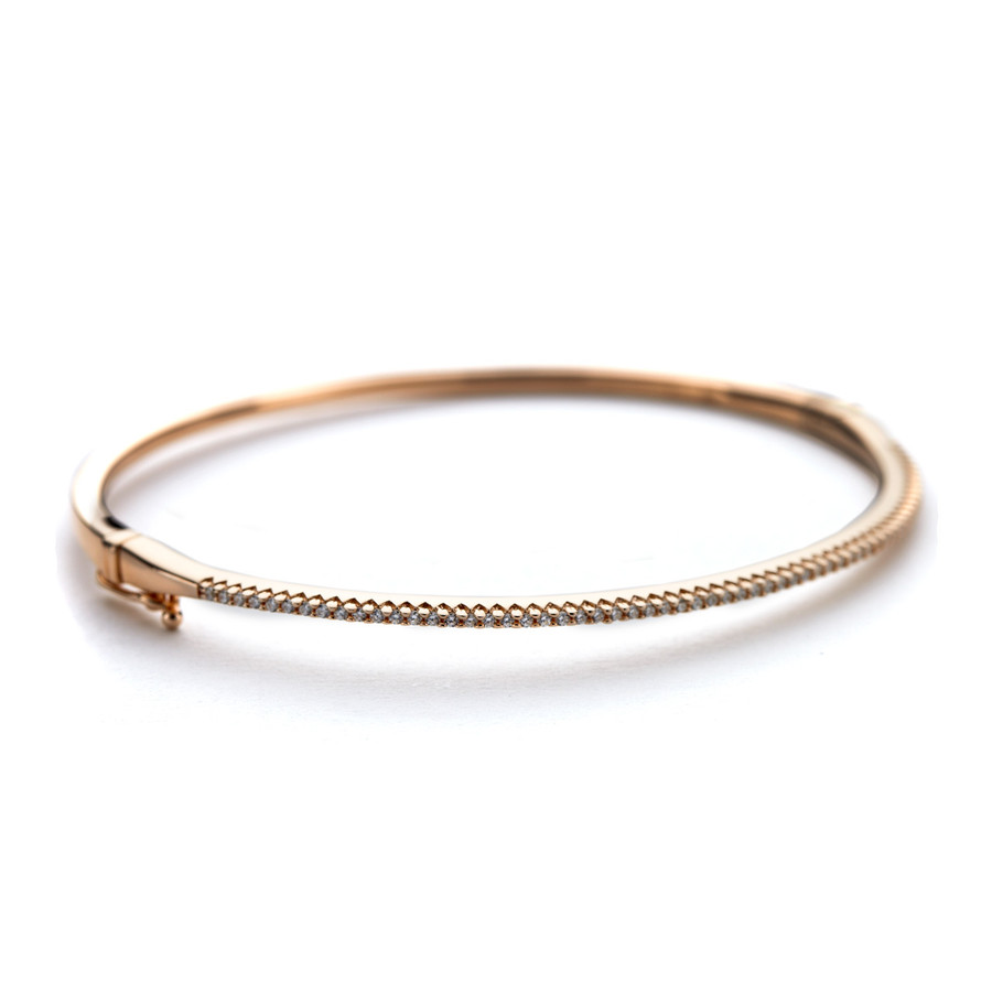 14ct rose gold vermeil Oval cuff bangle sterling silver with CZ crystals in the Allobar collection