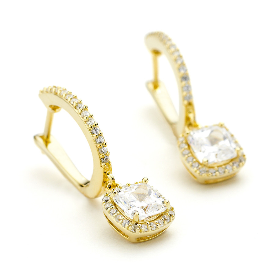Square drop earrings with crystal halo in yellow gold vermeil over silver from One by One