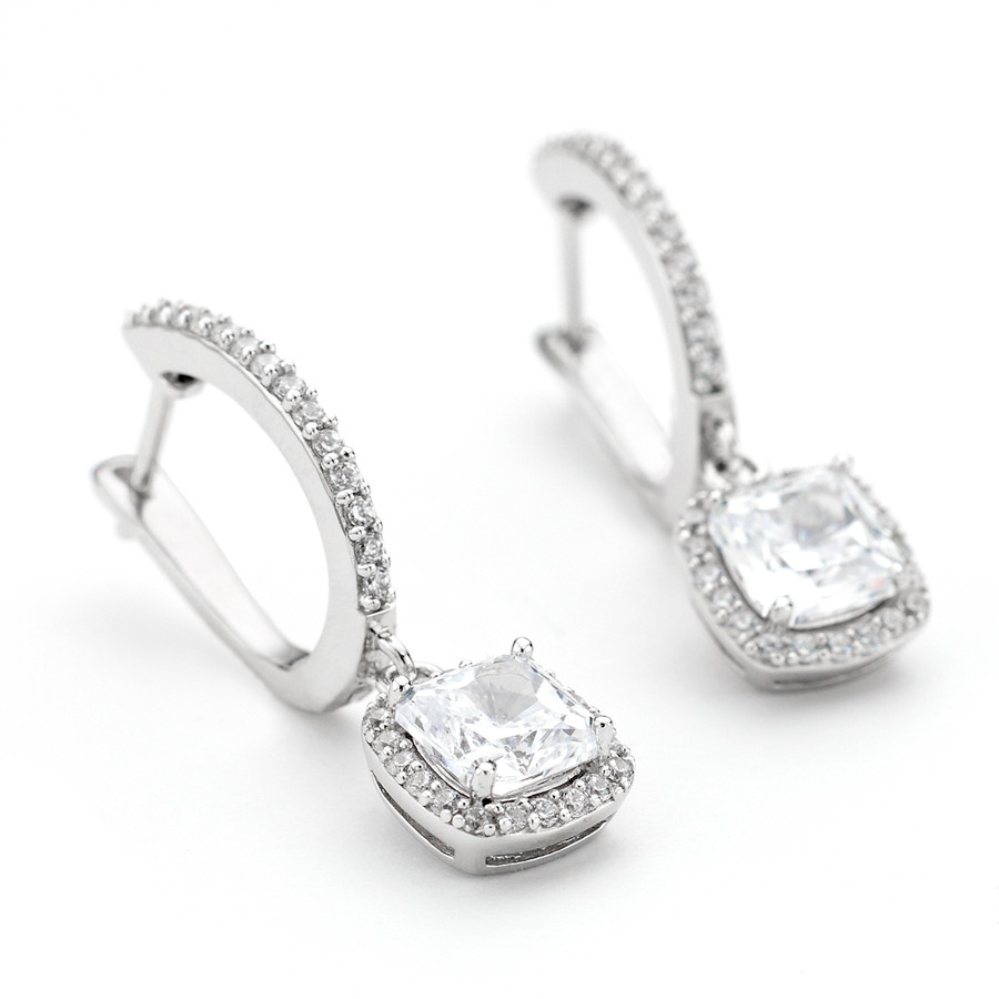 Drop halo square crystal stone earrings in white rhodium over sterling silver from One by One