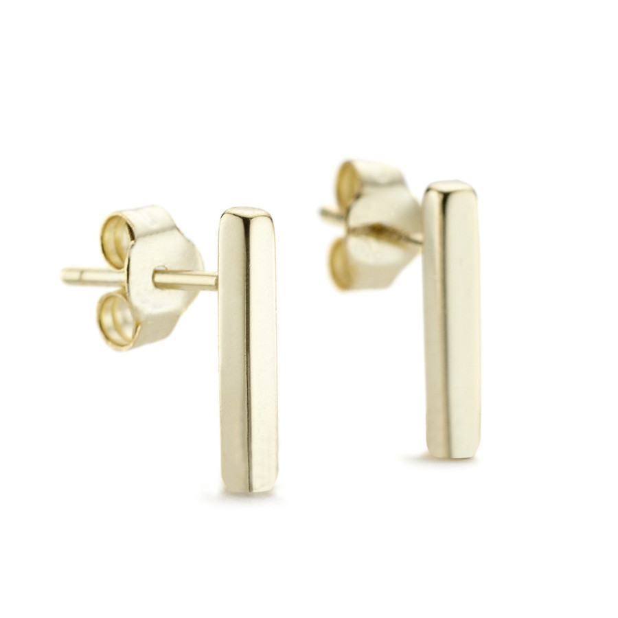 Yellow gold vermeil Allobar stud earrings with sterling silver Core metal from One by One