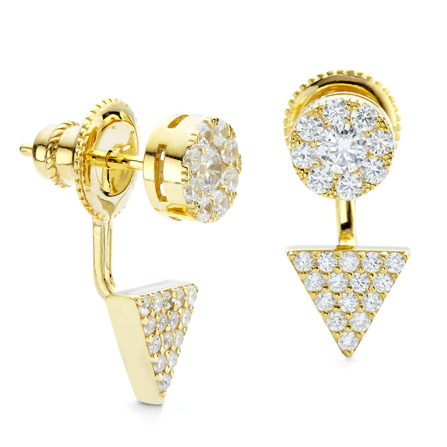 Yellow gold prism and disc swing earring in sterling silver core metal with CZ stones