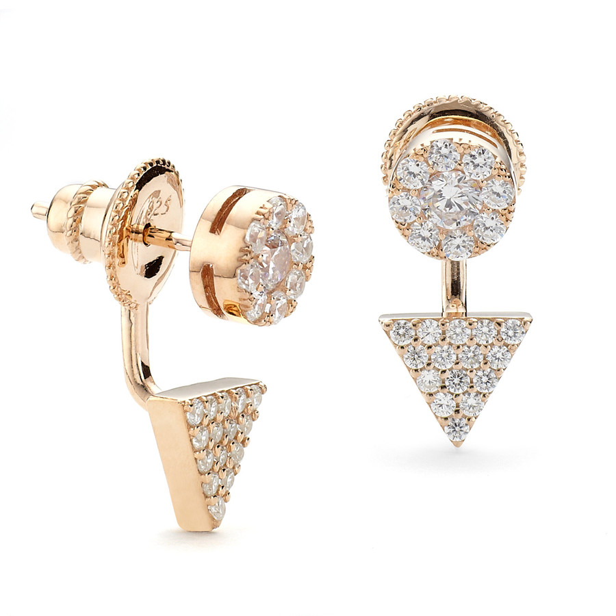 Rose gold finish prism and disc CZ swing earring from One by One