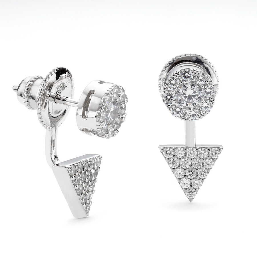 Sterling Silver Allobar CZ swing earring with disc and prism shapes in white rhodium finish