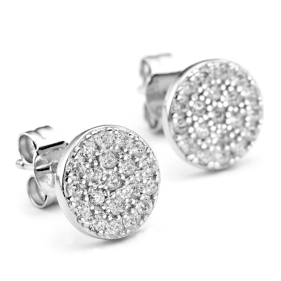 Sterling silver pave crystal studded disc earrings with white rhodium plate finish in Constellations collection