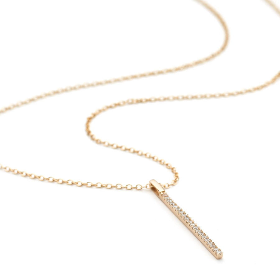Vertical ingot necklace pendant in rose gold vermeil with pave crystals on a 40 cm chain